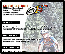 Click to view Carrie Dittmers 2001 Cycling Resume